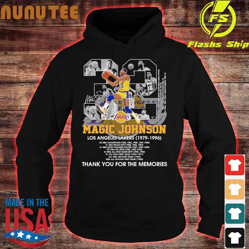 32 Magic Johnson Los Angeles Lakers 1979 1996 thank You for the memories signature hoodie