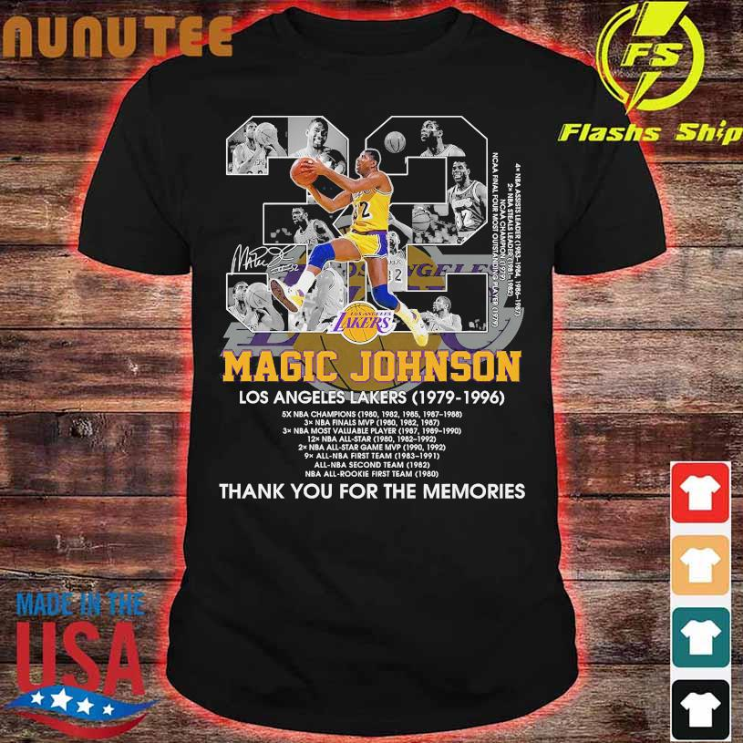 32 Magic Johnson Los Angeles Lakers 1979 1996 thank You for the memories signature shirt