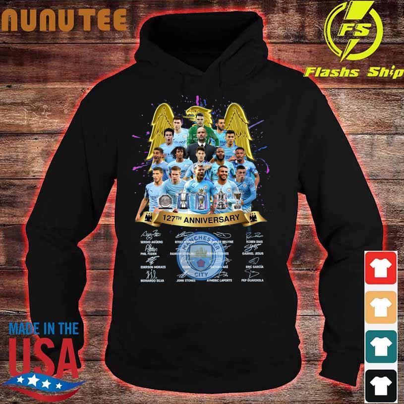 Manchester City 127TH Anniversary Sergio Riyad Mahrez Kevin De Bruyne signatures hoodie