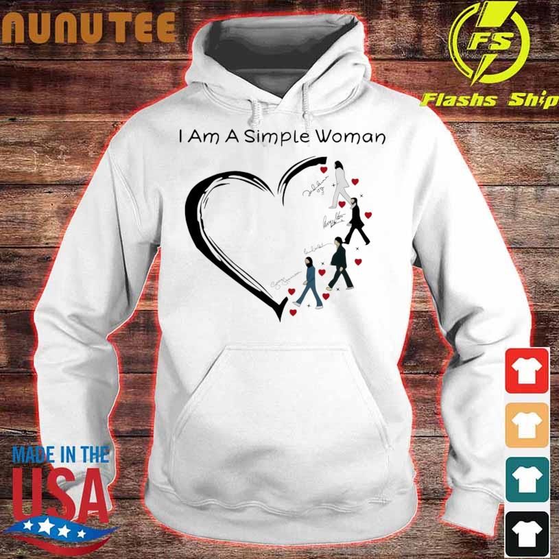 Official I Am A Simple Woman Heart The Beatles Signature Shirt hoodie