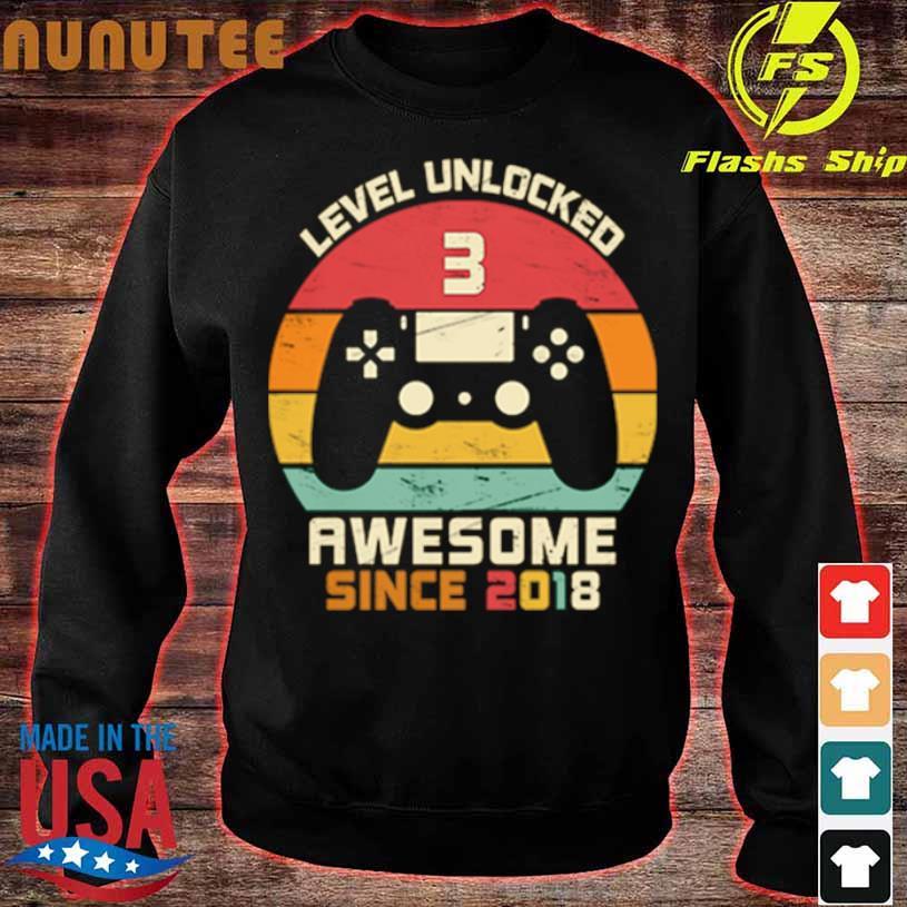 Level Unlocked 3 Awesome Since 2018 Vintage Retro Shirt sweater