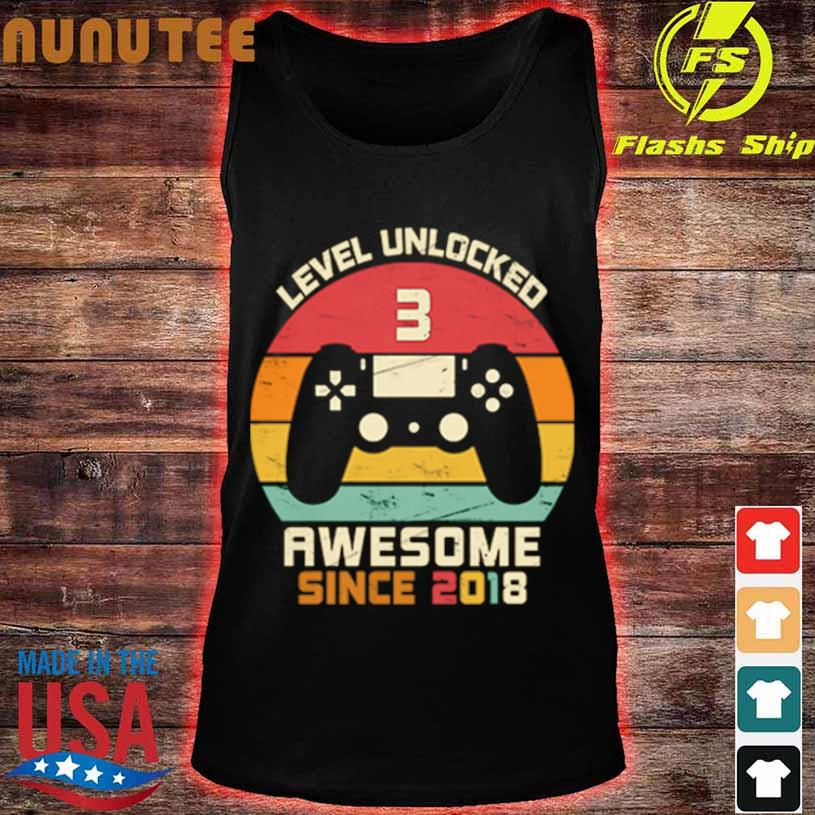Level Unlocked 3 Awesome Since 2018 Vintage Retro Shirt tank top