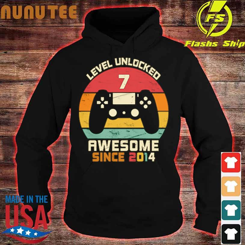 Level Unlocked 7 Awesome Since 2014 Vintage Retro Shirt hoodie
