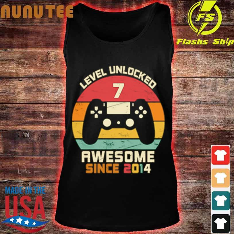 Level Unlocked 7 Awesome Since 2014 Vintage Retro Shirt tank top