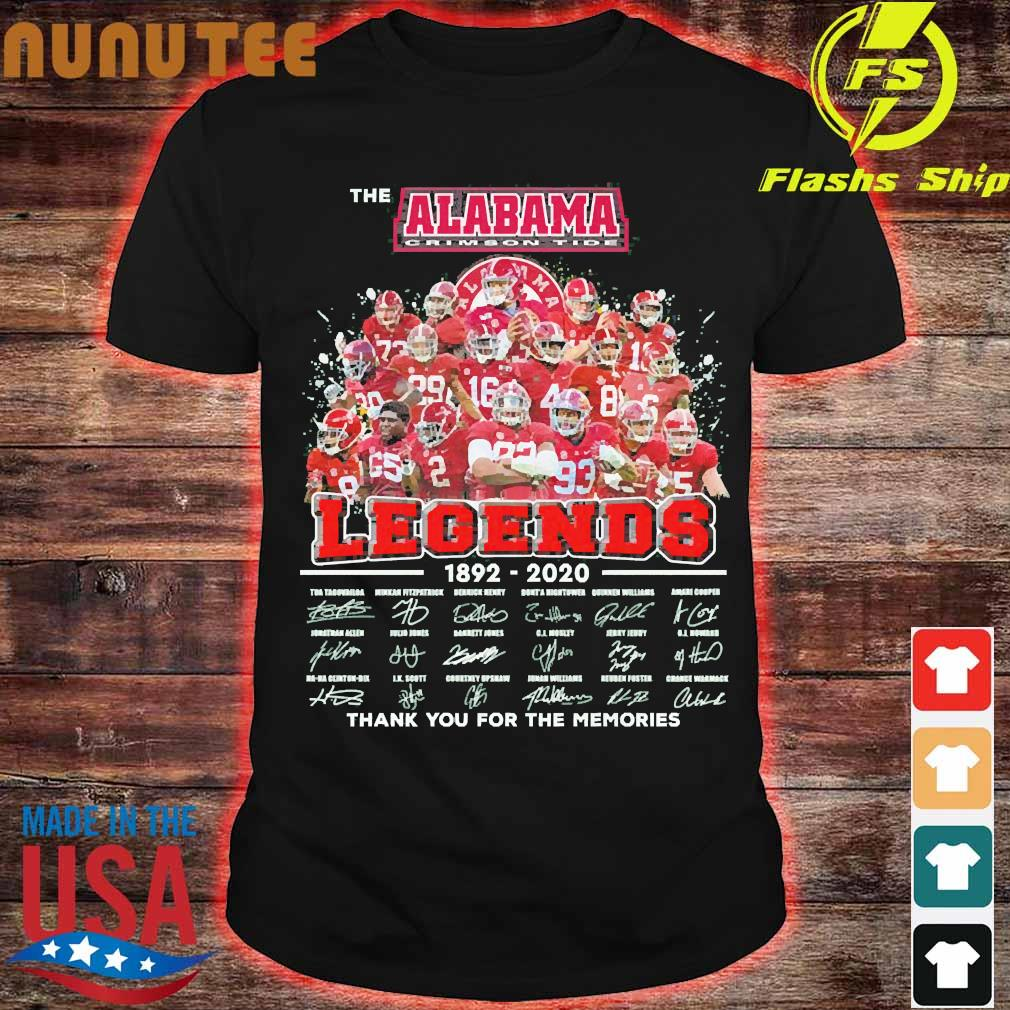The Alabama Crimson Tide legends 1892 2020 thank You for the memories signatures Shirt