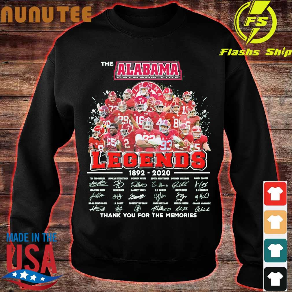 The Alabama Crimson Tide legends 1892 2020 thank You for the memories signatures Shirt sweater