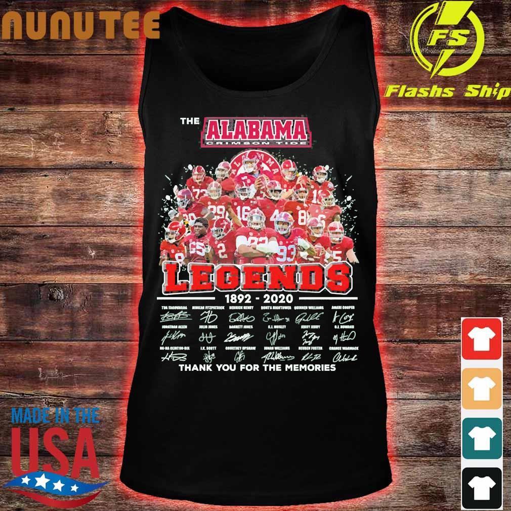 The Alabama Crimson Tide legends 1892 2020 thank You for the memories signatures Shirt tank top
