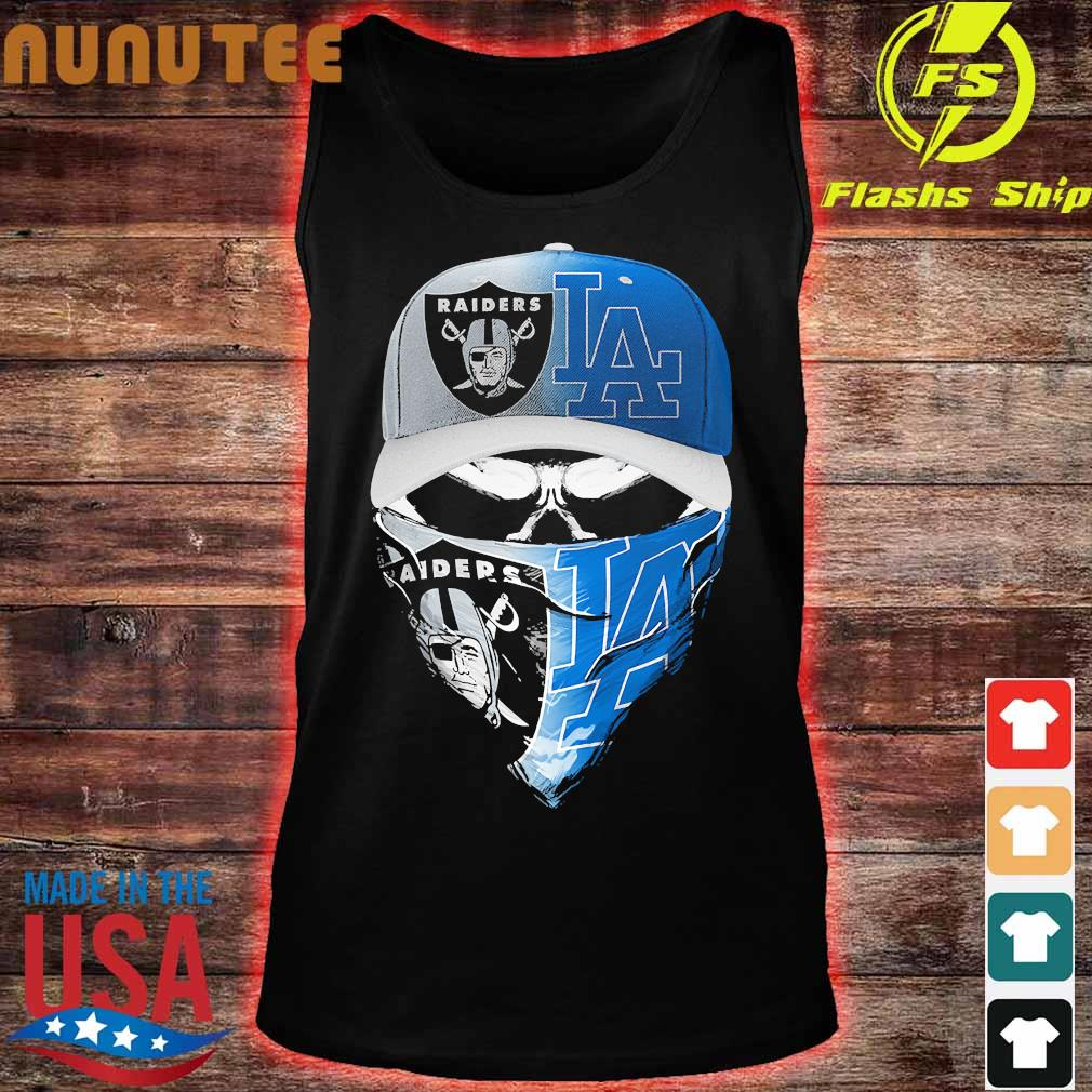 Skull face mask Oakland Raiders and Los Angeles Dodgers s tank top