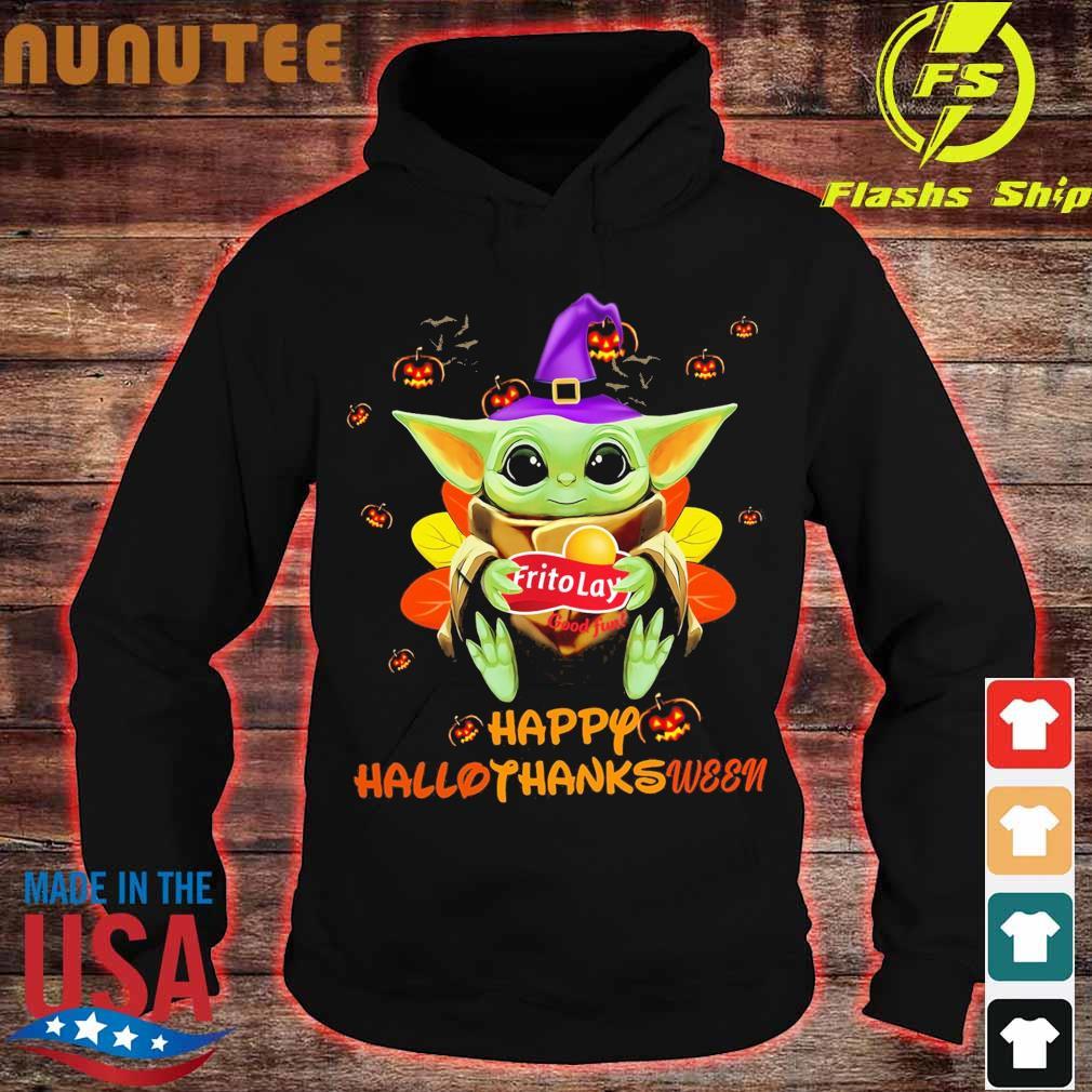 Baby Yoda Witch hug Frito Lay good fun Happy Hallothanksween s hoodie