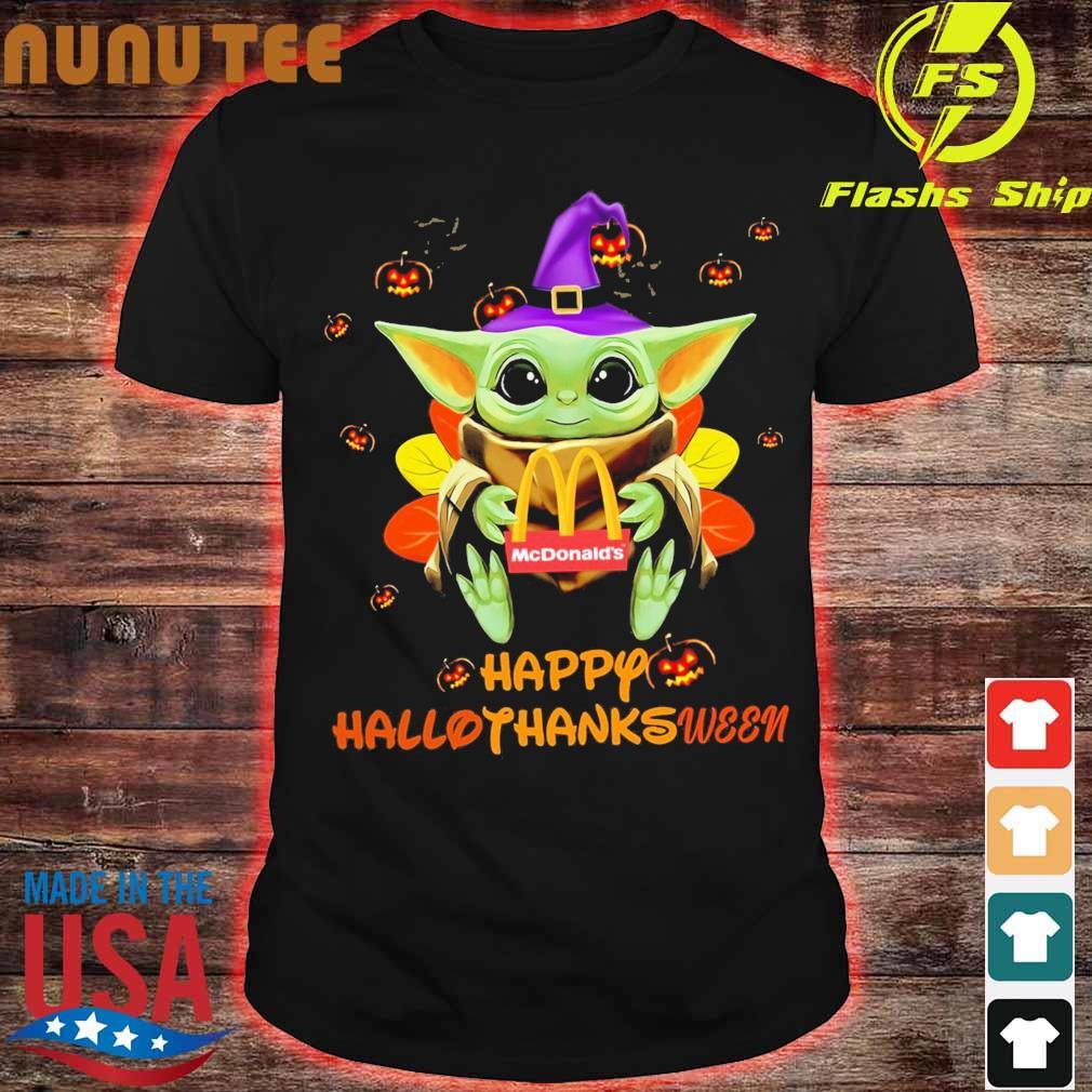 Baby Yoda Witch hug McDonald's Happy Hallothanksween shirt