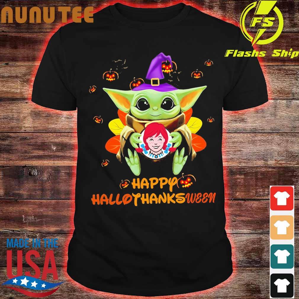 Baby Yoda Witch hug Wendy's Happy Hallothanksween shirt
