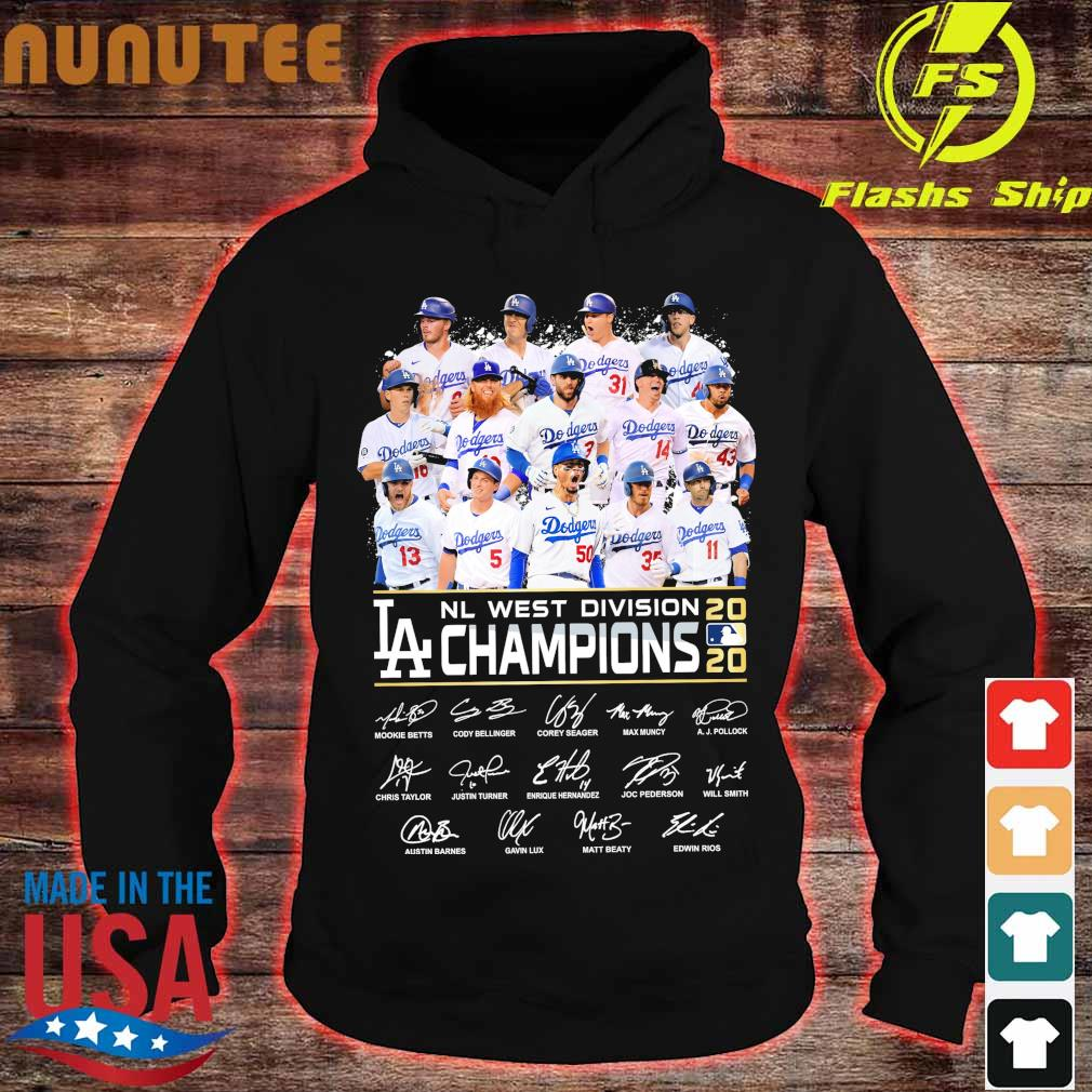 Dodgers Nl west division 2020 Losangeles Champions signatures s hoodie