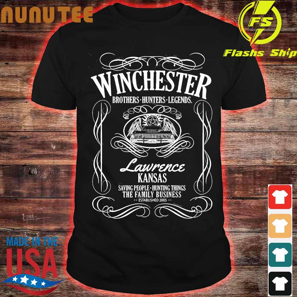 Winchester brothers hunters legends lawrence kansas saving people hunting things the family business established 2005 shirt