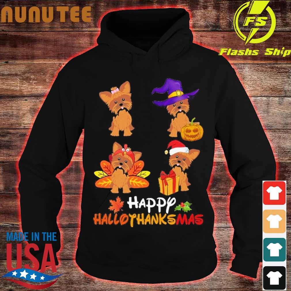 Yorkshire Terrier Happy Hallothanksmas s hoodie