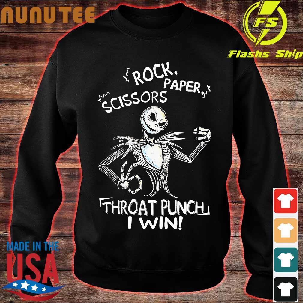 Hallowen Jack Skellington Rock Paper Scissors Throat Punch I Win Tshirt Men