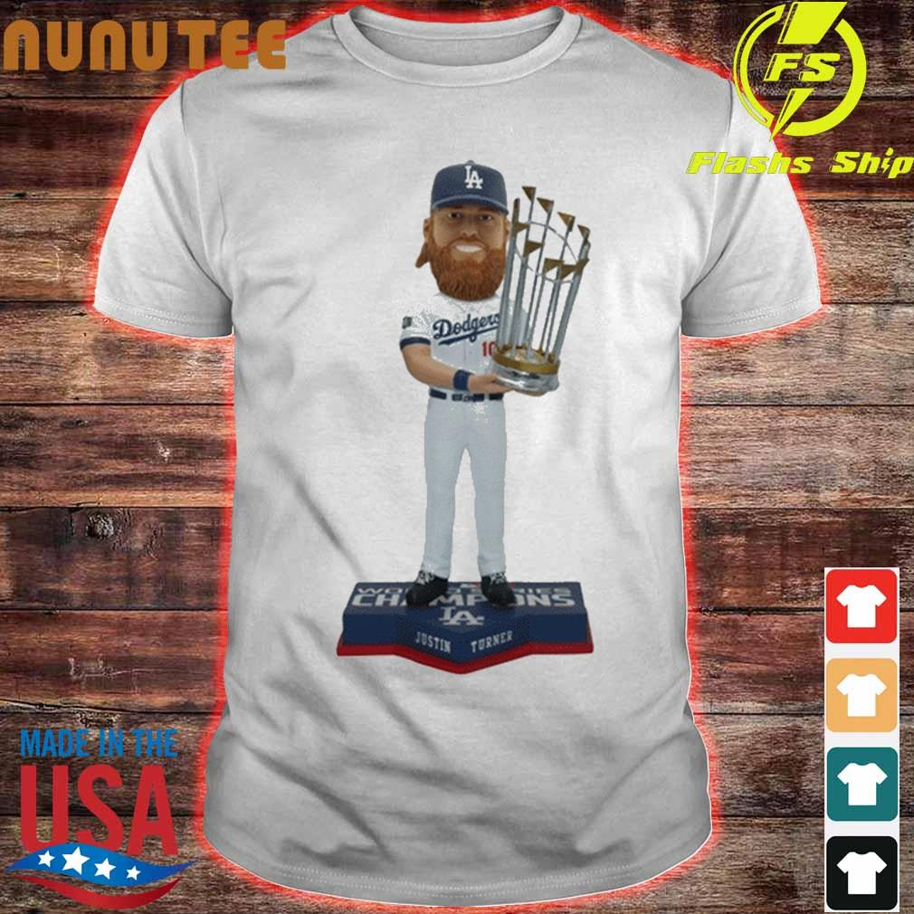 Justin Turner Los Angeles Dodgers 2020 World Series Champions Bobblehead Shirt